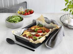 Ovnspannekake med ost og bacon - Bremykt Frisk, Bacon, Cheese, Food, Meal, Essen, Hoods, Meals, Pork Belly