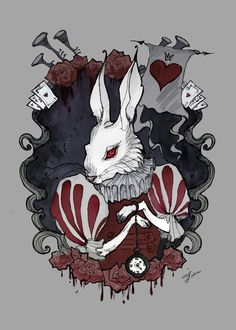 White Rabbit by IrenHorrors alice in wonderland monster beast creature animal | Create your own roleplaying game material w/ RPG Bard: www.rpgbard.com | Writing inspiration for Dungeons and Dragons DND D&D Pathfinder PFRPG Warhammer 40k Star Wars Shadowrun Call of Cthulhu Lord of the Rings LoTR + d20 fantasy science fiction scifi horror design | Not Trusty Sword art: click artwork for source