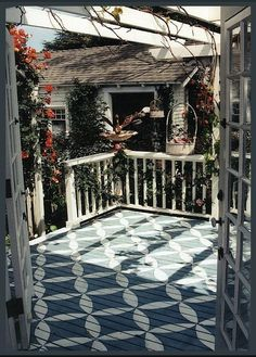Sweet Parrish Place: Painted Deck. Great way to give some character to your outside deck area! Love it!