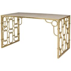 Maxine Hollywood Regency Gold Steel White Agate Stone Desk | Kathy Kuo Home