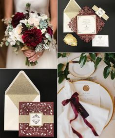 burgundy and gold wedding color ideas with matched wedding invitations Laser Cut Wedding Invitations, Wedding Invitation Sets, Invitation Cards, Wedding Cards, Our Wedding, Dream Wedding, Wedding Ideas, Gold Wedding Colors, Winter Wedding Flowers
