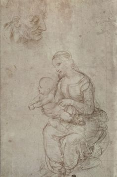 Madonna and child and head of an old man (metal point on prepared pale pink paper)