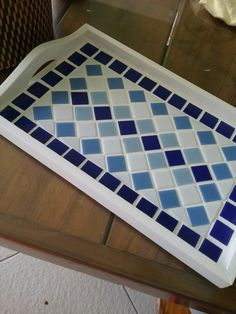 Beautiful Handmade Mosaic Mirror Bevelled Edge white ceramic and blue foiled glass Mosaic Tile Mosaic Tile Designs, Mosaic Tile Art, Mosaic Patterns, Mosaic Tray, Mosaic Pots, Mosaic Glass, Mosaic Art Projects, Mosaic Crafts, Glass Wall Art