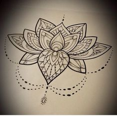 Black Mandala Lotus Flower Tattoo Stencil