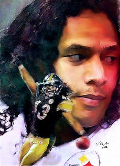 Pittsburgh Steelers Troy Polamalu | Troy Polamalu, Pittsburgh Steelers, NFL SS # 43 Art Prints by E. L ...