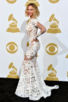 Beyonce switches black thong bodysuit for sheer white lace at Grammys