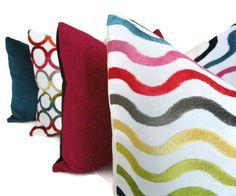 Jonathan Adler Multicolor Wavey Lines Decorative Pillow Cover. $65.00, via Etsy.