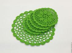"""Купить Набор вязаных подставок """"Пробуждение"""" - зеленый, зеленая салфетка, Салфетка вязаная, салфетка декоративная"""