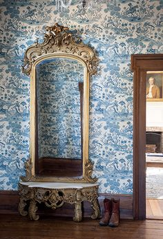 """Photo Credit: Caroline Allison. Traditional toile wallpaper and an antique pier mirror. <br><b><em><a href=""""http://gardenandgun.com/article/homeplace-new-life-tennessee-farm""""target=""""_blank"""">>Read the full article here</a></em></b></br>"""