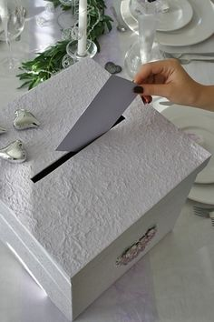 A practical card and money box should not be missing on your company. Engagement Decorations, Diy Wedding Decorations, Card Box Wedding, Wedding Guest Book, Dream Wedding, Wedding Day, Wedding Highlights, Guest Book Alternatives, Gift Table