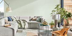 Breaking: de kleur van het jaar 2020 van Flexa is Tranquil Dawn - Roomed Living Room Green, Living Room Paint, Living Room Decor, Two Tone Walls, Dulux Valentine, Green Color Schemes, Color Of The Year, Color Trends, Design Trends