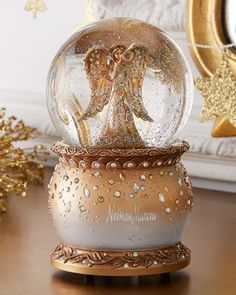 Snowglobe made of resin and glass. Accented with acrylic beads. Wind-up music; The Herald Angels Sing . x Imported. Musical Christmas Snow Globes, Christmas Balls, Christmas Holidays, Xmas, Christmas Colors, I Love Snow, Water Globes, Up Music, Christmas Blessings