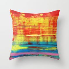 Sunny Sunset, Colorful Abstract Art Throw Pillow by art-by-lang Throw Cushions, Couch Pillows, Designer Throw Pillows, Down Pillows, Floor Pillows, Colorful Abstract Art, Red And Teal, Fluffy Pillows, Home Decor Shops