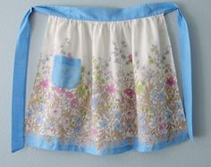 Vintage Blue Trim  Flowered Apron by YzTreasures on Etsy