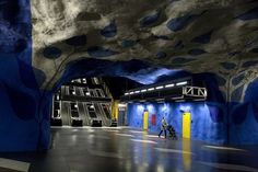Photo of a very artistic subway station in Stockholm, Sweden
