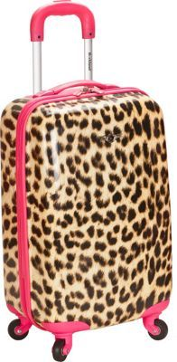 "Rockland Luggage Safari 20"" Hardside Spinner Carry-on Pink Leopard - via eBags.com!"