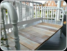 Vintage Spool Bed Bench - want one - wait I don't have a porch!