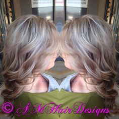 Icy platinum blonde with cinnamon lowlights and curls AMHairDesigns