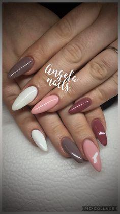 Almond autumn nails#