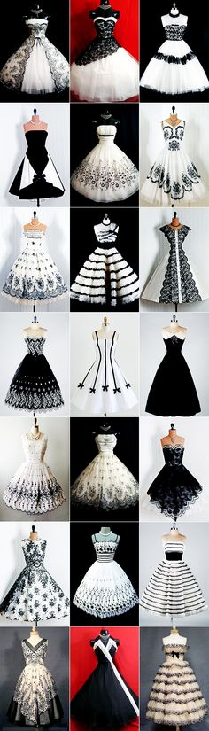 "Original pinner said, Prom and Party Dresses."" I don't think many of them are vintage, though. AND b&w would RARELY be used as a younger girl's party dress at that time. Either way, they're all gorgeous, gorgeous b&w dresses! Pretty Outfits, Pretty Dresses, Beautiful Outfits, Awesome Dresses, Vintage Outfits, Vintage Fashion, Vintage Dresses 50s, 1950s Dresses, Vintage Clothing"