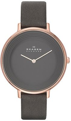 Skagen Ladies's Rose Gold Tone Grey Leather Strap Watch http://www.thesterlingsilver.com/product/michael-kors-darci-womens-quartz-watch-with-gold-dial-and-gold-stainless-steel-bracelet-mk3191/