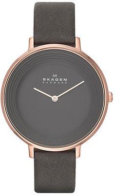 Skagen Ladies's Rose Gold Tone Grey Leather Strap Watch