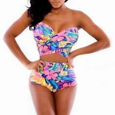 Floral Print High-Waisted Fashionable Strapless Women's Bandage Bikini Set (AS THE PICTURE,S)   Sammydress.com Mobile