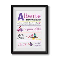 Fødselsplakat med dine personlige oplysninger!!! Super populær :-)