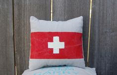 Red cross First Aid home decor pillow- Canvas Pillow  14 x 14 inch. $24.00, via Etsy.