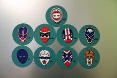See below for complete list of 9 face mask designs included in the set. Ken Dryden, Hockey Helmet, Lion Mask, Buffalo Sabres, 3d Shapes, Mask Design, Nhl, 3d Printing, Decorative Plates
