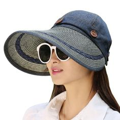 Hats Women Wide Large Brim Floppy Summer Beach Sun Hat Straw Hat Button Cap  Summer Hats For Women Anti-uv Visor Cap Female d90b3bcfe7f6