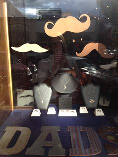 Dad window display for Father's Day 2015. Now how often do you see men's jewelry in a jewelry store display? We were happy to oblige for this special holiday.
