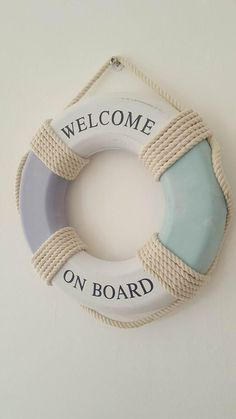 WELCOME ON BOARD BLUE & WHITE LIFE RING CHIC N SHABBY NAUTICAL BOAT DECORATION