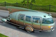 """Found on """"Vintage Trailers"""", but upon closer examination it looks like a small motorhome--with the back wheels (or a single wheel) hidden. When it comes to naming the style, what comes to mind is """"50s futuristic."""" Would love to find more information on this cool vintage rig!"""