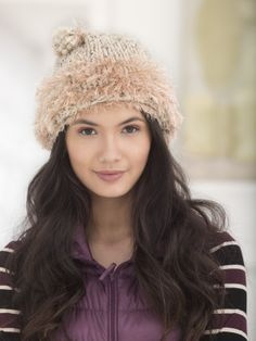 Be eco-friendly and on trend with this knit hat trimmed with Fun Fur®.