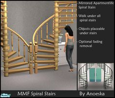 A new Maxis More Function set: Mirrored versions of the spiral stairs from AL, fully animated ofcourse. The 3 new + the 3 original spiral stairs are modified: sims can walk under the highest part...