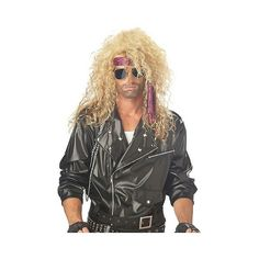 Heavy Metal Rocker Blonde Costume Wig Golden, Adult Unisex ($31) ❤ liked on Polyvore featuring costumes, golden, halloween, rocker costume, adult costumes, adult halloween costumes, wig costumes and rocker halloween costume