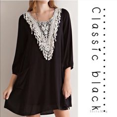 """10/26CRINKLE DRESS WITH BEAUTIFUL APPLIQUÉ The crochet lace appliqué is gorgeous alone but on black crinkle rayon fabric? Amazing! Elasticized sleeve cuff, front pockets, keyhole back closure. Fully lined. Woven, lightweight. 100% rayon. SMALL: bust 38"""" MEDIUM: bust 38"""". Flairs out to 60"""" at pockets. PLEASE DO NOT BUY THIS LISTING, I will personalize one for you! tla2 Dresses"""