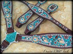Custom horse tack loaded with bling made in Texas. Headstalls For Horses, Western Horse Tack, Tack Sets, Blue Horse, Paisley, Studs, Bling, Turquoise, Leather