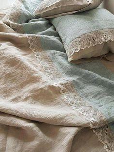 Lace linen BEDDING SET from washed heavier bluish green melange and natural flax linen - duvet cover, pillowcases - Queen, King duvet set Linen Sheets, Bed Linen Sets, Linen Duvet, Linen Pillows, Duvet Sets, Body Pillows, Bed Linens, Bed Sheets, Quilts