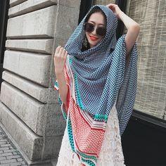 ... Femmes Coton Écharpe Géométrique Plaid Classique Couverture Châle Grand  Chaud Automne Hiver Wrap Mode Pashmina NOUVEAU  3266 , de haute qualité  blanket ... dab4303071e
