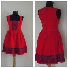 Vintage Dirndl Dress  Cotton Dress   Orange Dress  by DanielaDavid,