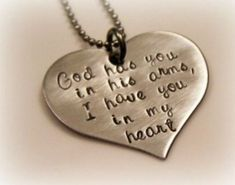 Hand Stamped Heart - Grieving - Miscarriage - Loss of pet - In Gods arms necklace. {it brought me to tears} Lost Quotes, Death Quotes, Sad Quotes, Qoutes, Loss Of Loved One, Losing A Loved One Quotes, Miss You Dad, Pet Loss, Stamped Jewelry