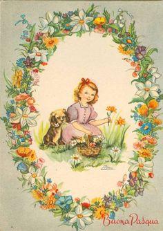 Buona Pasqua anni 50 Vintage Pictures, Vintage Images, Vintage Cards, Vintage Postcards, Fete Pascal, Nostalgic Art, Easter Wishes, Easter Pictures, Old Cards
