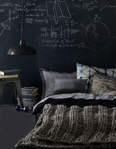 bedroom sleeping materials blackboard. Love the blanket.