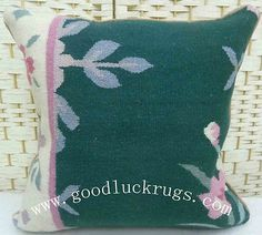 "16"" Wool Kilim Kelim Rug Green Decorative Throw Pillow Case Cushion Cover~New"