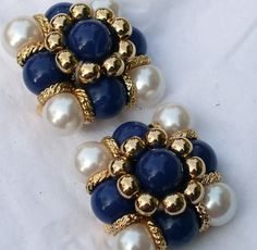 Pearly Blue Clip on Earrings