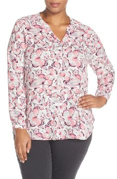 Sejour Pintuck Shoulder Print Blouse (Plus Size) available at #Nordstrom
