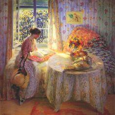 ✉ Biblio Beauties ✉ paintings of women reading letters & books - Louis Ritman   Sunlight