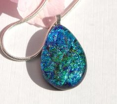 Turquoise and Green Dichroic Glass Pendant - Fused Glass Teardrop Necklace - Blue Glass Jewelry by TremoughGlass on Etsy
